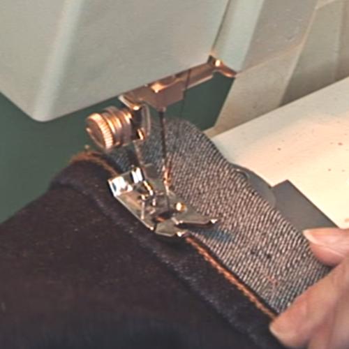 Stitch along jeans hem