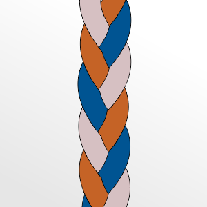 Three Color Braid Drawing