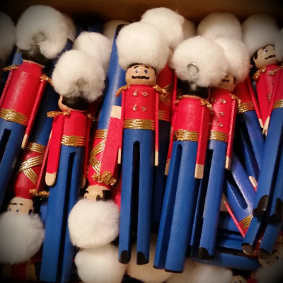 Stack of Clothespin Toy Soldier Ornaments