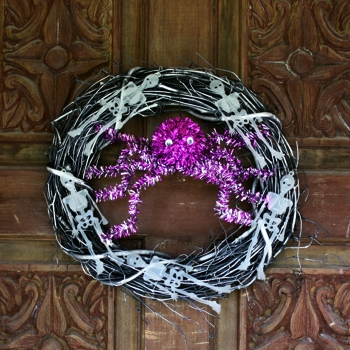 Halloween Wreath With Glow In The Dark Skeletons
