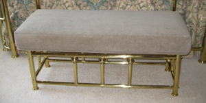 Upholstered Bench with Brass Frame image