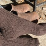 womens brown ribbed sock image