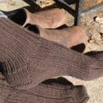womens brown ribbed sock image
