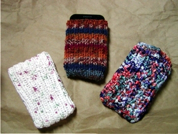 Finished DIY iPod Phone Sock Knitting Pattern